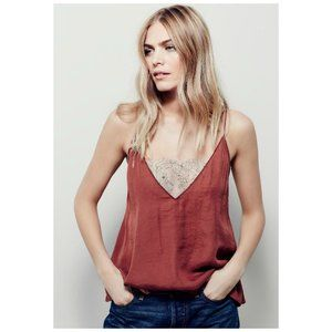Intimately Free People Copper Deep V Lace Top